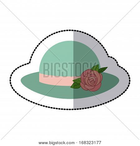 sticker colorful lace hat roses bowler retro design vector illustration