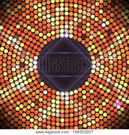Disco party background. Ball, nightclub and nightlife, bright and shine sphere, vector illustration