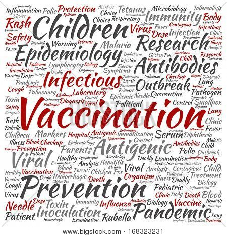 Concept or conceptual children vaccination or viral prevention square word cloud isolated on background metaphor to infectious antigenic, antibodies, epidemiology immunization or inoculation