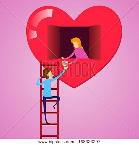 Vector stock of a man climbing ladder to give flower to a girl inside a heart