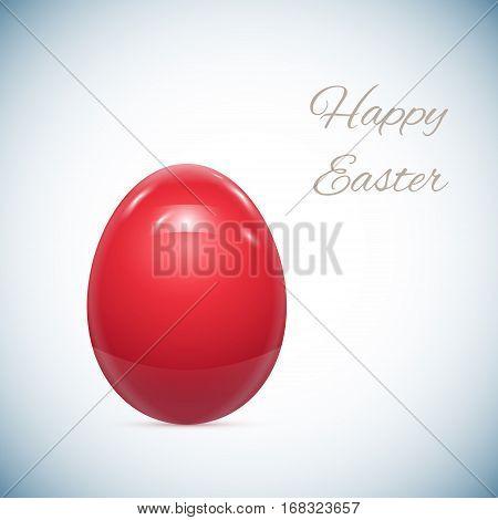 Red Easter Egg Isolated on White Vector Illustration