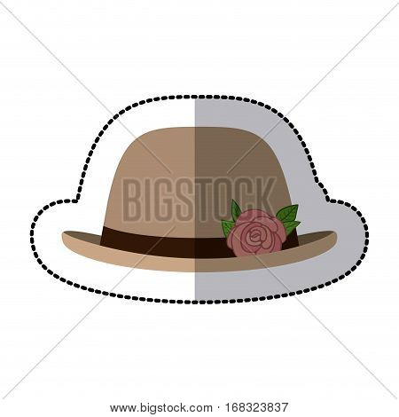 sticker lace hat roses bowler retro design vector illustration