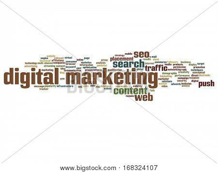Concept or conceptual digital marketing seo or traffic abstract word cloud isolated on background metaphor to business, market, content, search, web, push, placement, communication or technology