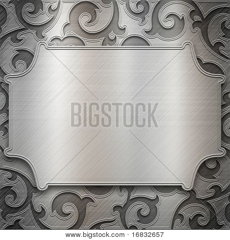 Silver metal plate with classic ornament (big collection)