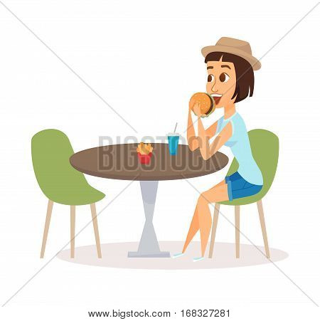 Women eating fast food meal in restaurant. Happy girl sitting, waiting for someone and having lunch burgers, fries and drinking soda. Young fun and smiling person in mall.
