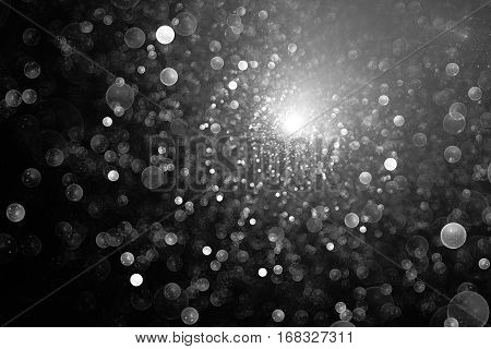 Supernova Explosion. Abstract Monochrome Drops On Dark Background. Fantasy Black And White Fractal T
