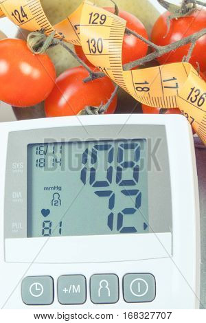 Vintage Photo, Blood Pressure Monitor With Result Of Measurement, Fruits With Vegetables And Centime