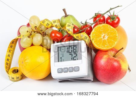 Blood Pressure Monitor With Result Of Measurement, Fruits With Vegetables And Centimeter, Healthy Li