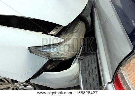 close up two pickup car crash background