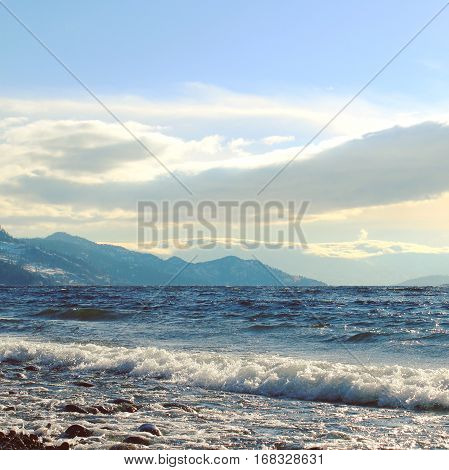 Sunshine, Waves And Bright Sky At The Lake