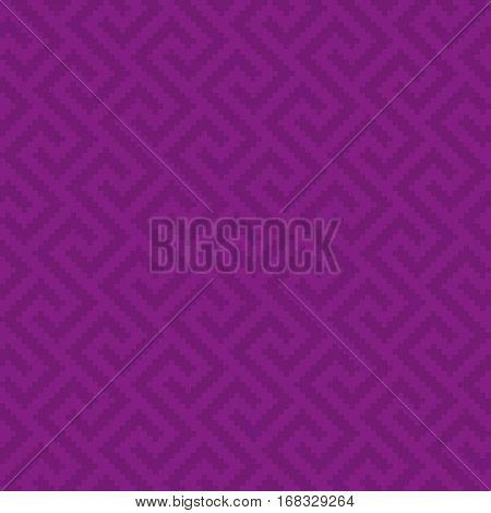 Purple Meander Pixel Art Pattern. Neutral Seamless Pattern for Modern Design in Flat Style. Tileable Greek Key Vector Background.