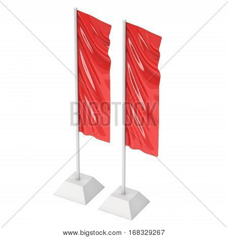 Flag Red Expo Banner Stand. Trade show booth. 3d render illustration isolated on white background. Template mockup for your expo design.