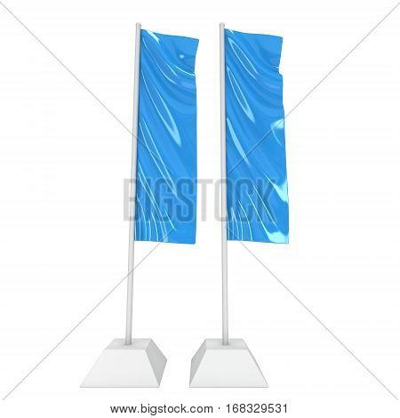 Flag Blue Expo Banner Stand. Trade show booth. 3d render illustration isolated on white background. Template mockup for your expo design.