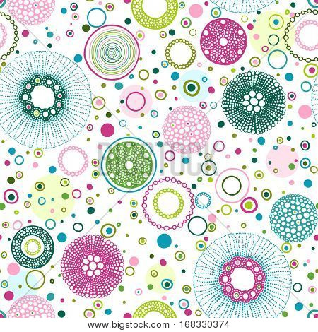 Seamless print of circles hand-drawn. Vector abstract illustration turquoise, pink, blue and green colors design texture on white background.