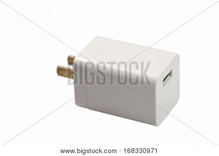 isolated plug with usb on white background