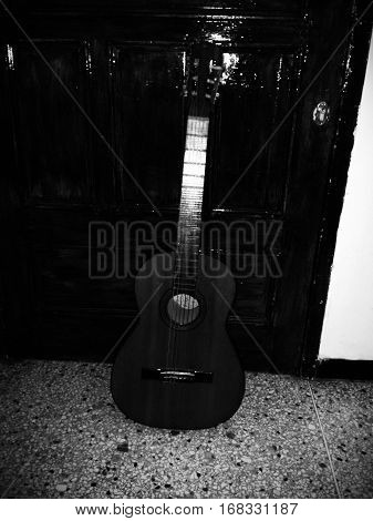 Guitar instrument to play melodies, or make melodies, music songs