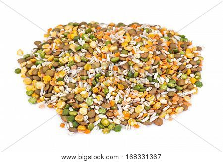 Mixture of cereals, peas, lentils, rice, barley. Studio Photo