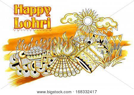 illustration of Happy Lohri background for Punjabi festival