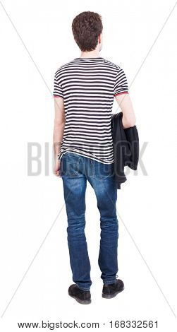 Back view of man in jeans. Standing young guy. Rear view people collection.  backside view of person.  Isolated over white background. Hung the jacket on the left hand man standing.