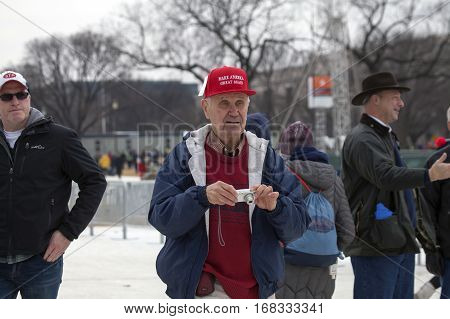 WASHINGTON DC - JANUARY 20: Senior man during Inauguration of Donald Trump. Taken January 20 2017 in District of Columbia.