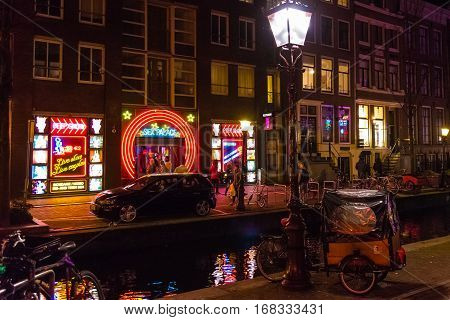 Night Street View In Amsterdam Red Light District
