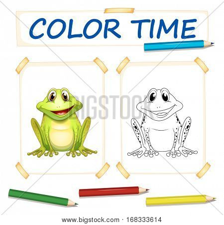 Coloring template with cute frog illustration
