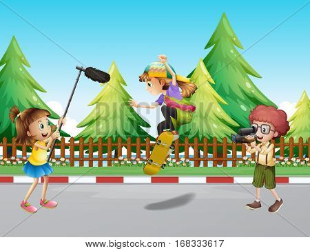 Camera crew filming girl skateboarding in park illustration