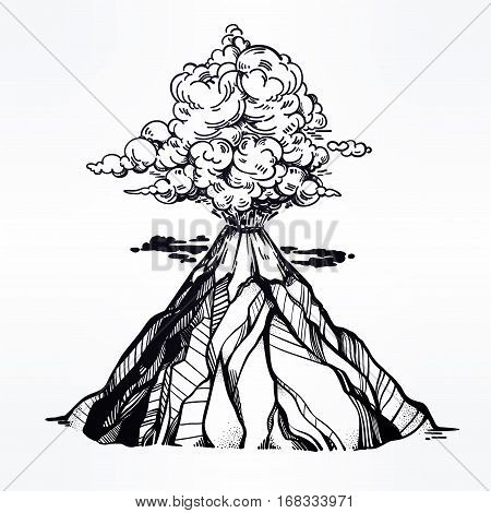 Hand drawn volcano. Nature disaster. The eruption and smoke against the sky with clouds. Isolated vector illustration.