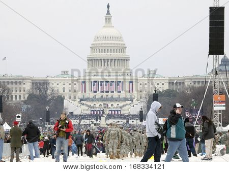 WASHINGTON DC - JANUARY 20: Crowd during Inauguration of Donald Trump. Taken January 20 2017 in District of Columbia.
