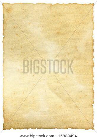 alte Blatt Papier isoliert auf weiss