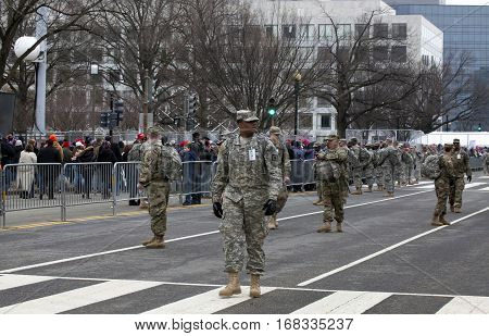WASHINGTON DC - JANUARY 20: Military Police stand guard during Inauguration of Donald Trump. Taken January 20 2017 in District of Columbia.