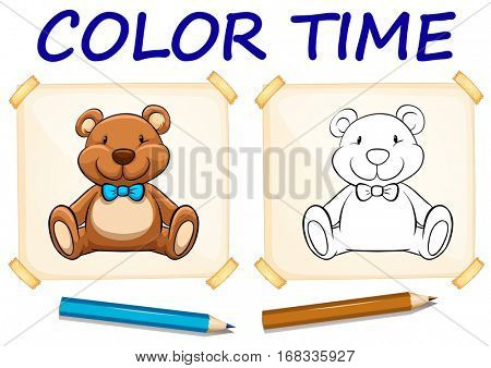 Coloring template with teddy bear illustration