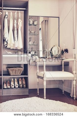Vintage Style Photo Of Dressing Room With Classic White Chair An