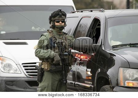 WASHINGTON DC - JANUARY 20: Special Operations guard during Inauguration of Donald Trump. Taken January 20 2017 in District of Columbia.