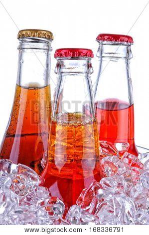 Soda Bottles in Ice Bucket isolated over white
