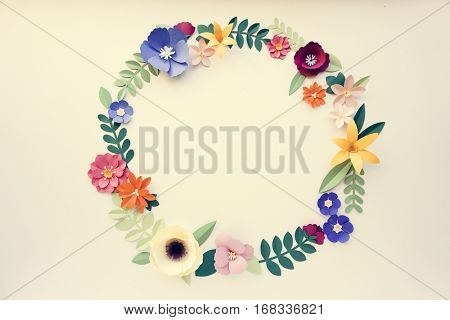 Flowers Handmade Paper craft Art Circle