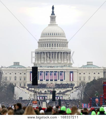 WASHINGTON DC - JANUARY 20: Capitol building during Inauguration of Donald Trump. Taken January 20 2017 in District of Columbia.
