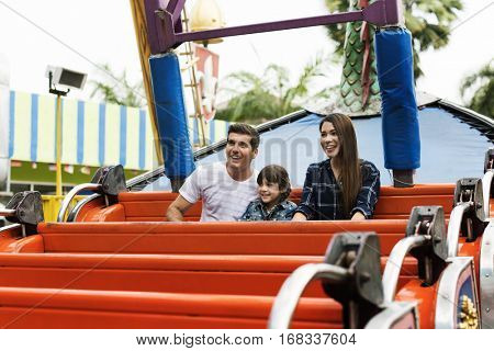 Family Holiday Vacation Amusement Park Ride Togetherness