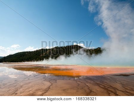 Grand Prismatic Spring During The Day In The Midway Geyser Basin In Yellowstone National Park In Wyo
