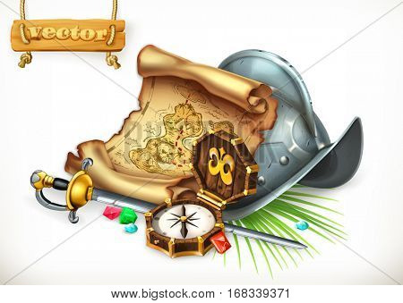 Old treasure map and conquistador helmet. Adventure, 3d vector illustration