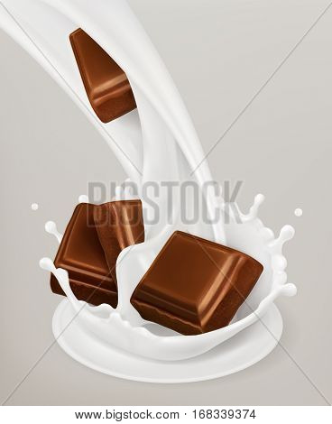 Milk splash and chocolate. Natural dairy products, 3d vector object