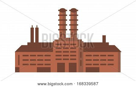 Manufacturing factory building. Industrial factory vector flat illustration. Plant building, industrial building concept with minimalism style.
