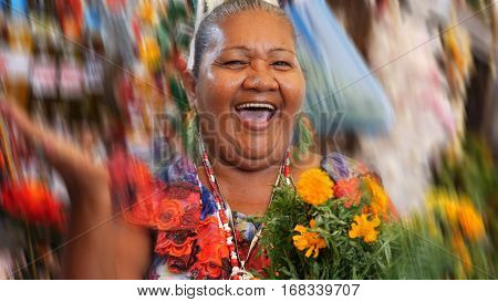 Happy Brazilian woman at Belem do Para in Brazil