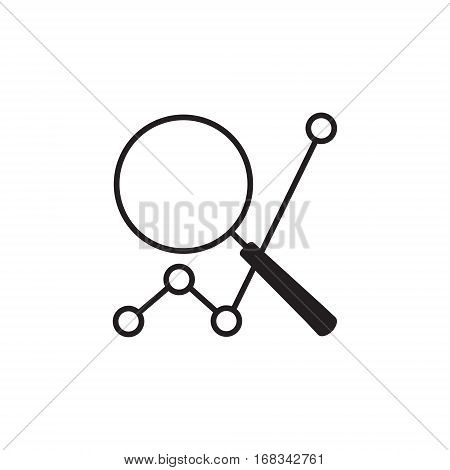 Vector icon or illustration showing web site seo ranking with magnifying glass in one balck color