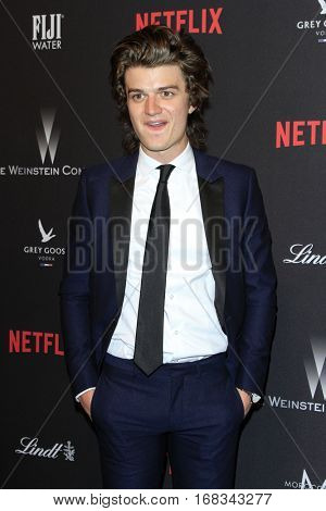 LOS ANGELES - JAN 8:  Joe Keery at the Weinstein And Netflix Golden Globes After Party at Beverly Hilton Hotel Adjacent on January 8, 2017 in Beverly Hills, CA