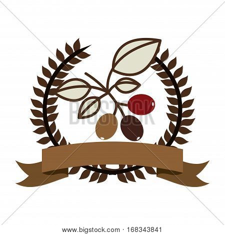 color silhouette with olive crown with ribbon and cofee tree branch vector illustration
