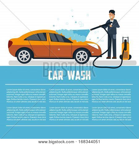 Car wash template. Man washing car vector illustration. Car wash concept illustration. Business template for advertising and commercial use.