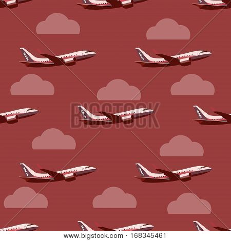Plane in the sky seamless pattern. Vector background with planes and clouds. Backdrop in flat style.