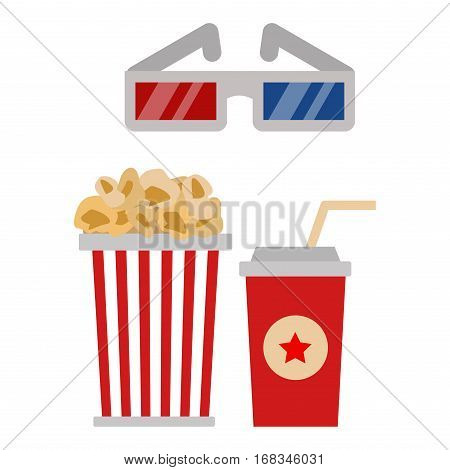 Popcorn in red and white cardboard box is shaking vector illustration. Classic salty carton fast food large pack. Theater entertainment delicious.