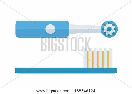 Electric tooth brush vector illustration. Dental care morning protection toothpaste isolated on white background. Healthcare mouth toiletries smile wash tool.